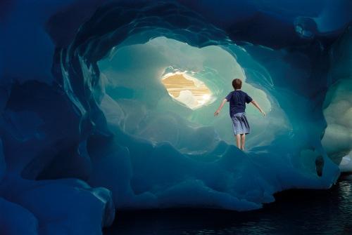 Boy Standing on Iceberg